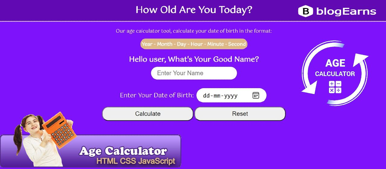 How to create Age Calculator in HTML CSS & JavaScript
