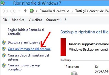 Windows 8 Crea un'immagine del sistema