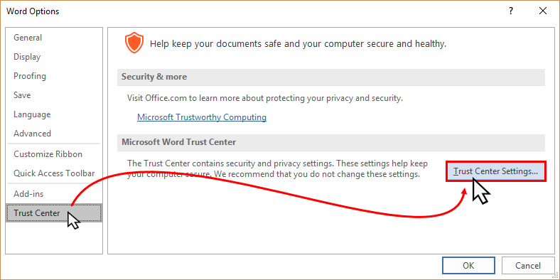 Microsoft Office 'Trust Center Settings' (www.kunal-chowdhury.com)