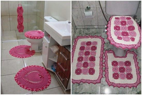 como decorar banheiro cor de rosa - tapetes