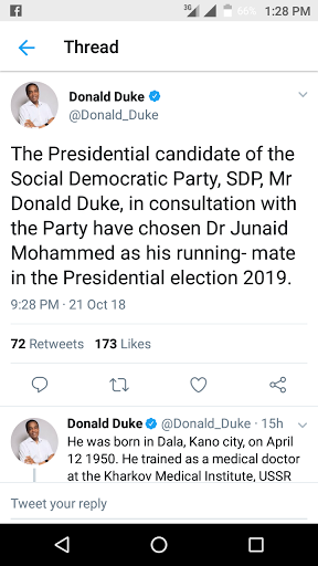 SDP chooses Dr Junaid Mohammed as it Vice Presidential candidate