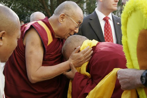 His Holiness the Dalai Lama being greeted by Lama Zopa Rinpoche, Kurukulla Center, Medford, Massachusetts, U.S., October 2012. Photo by Devin Jones.