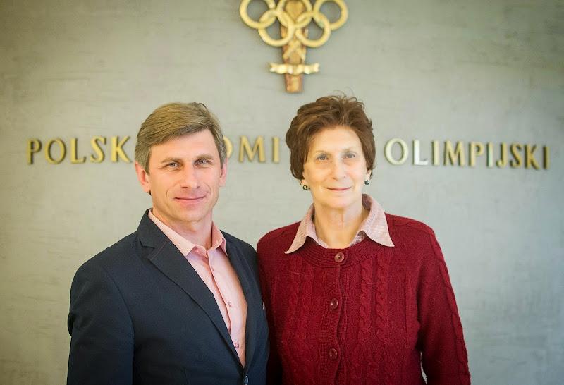 Andrzej Krygowski z Ireną Szewińską w siedzibie Centrum Olimpijskiego PKOL 03-03-2014
