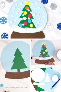 Atividades criança DIY Natal - Globo neve