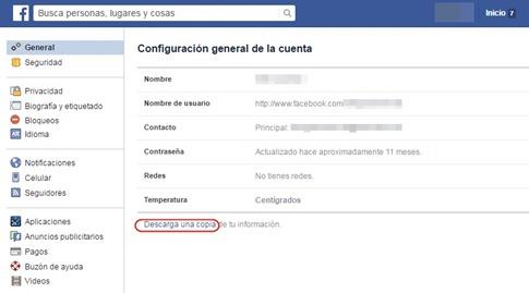 Descargar una copia de tu información de Facebook