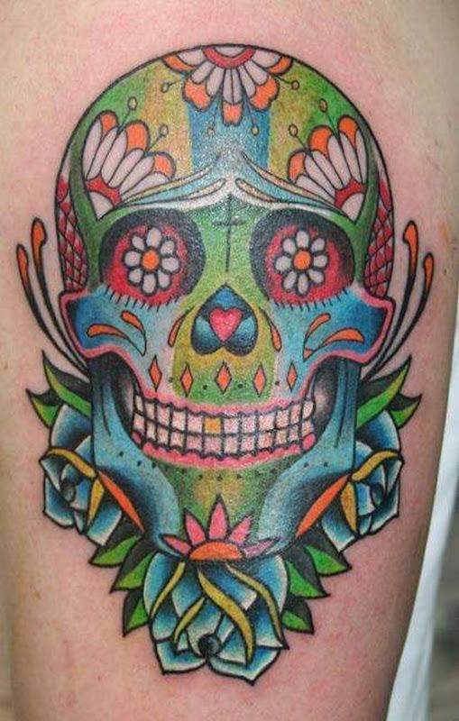 multicolorida_de_açcar_desenho_de_tatuagem_de_caveira