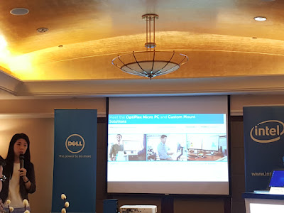 Huang Zhiwei, Business Development Manager, Client Solutions, Singapore Commercial, Dell, introduces the customised mounts for OptiPlex desktops.