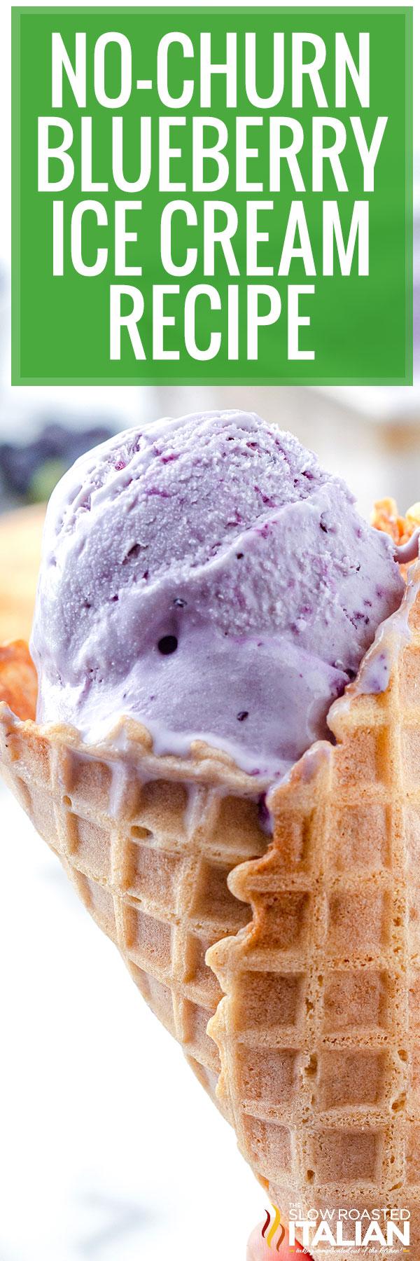 No-Churn Blueberry Ice Cream Recipe closeup