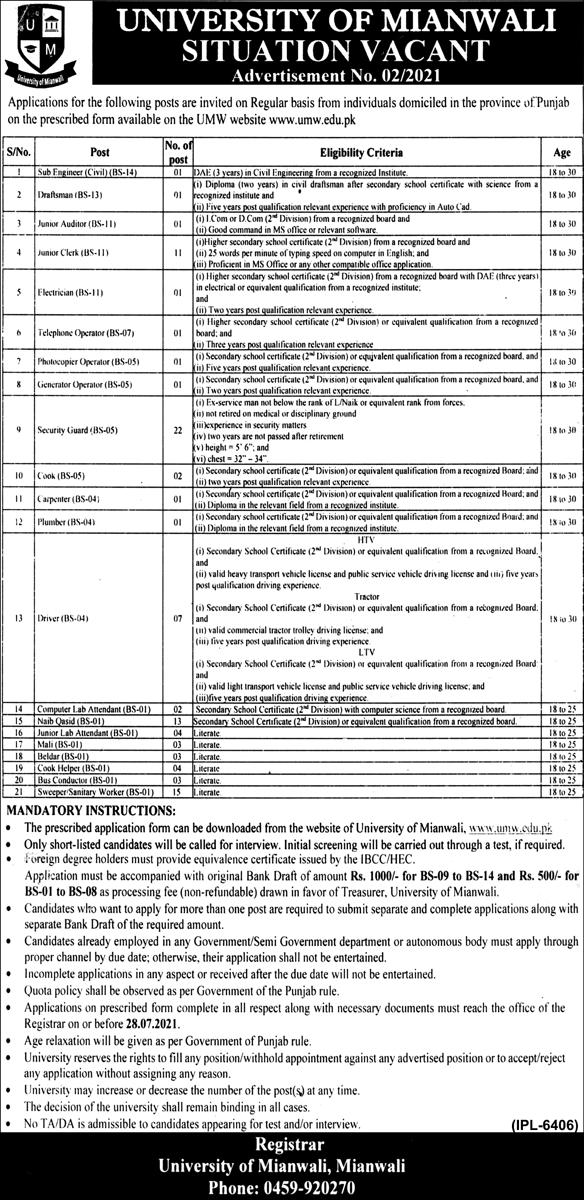 University of Mianwali Jobs 2021 (100 Posts)