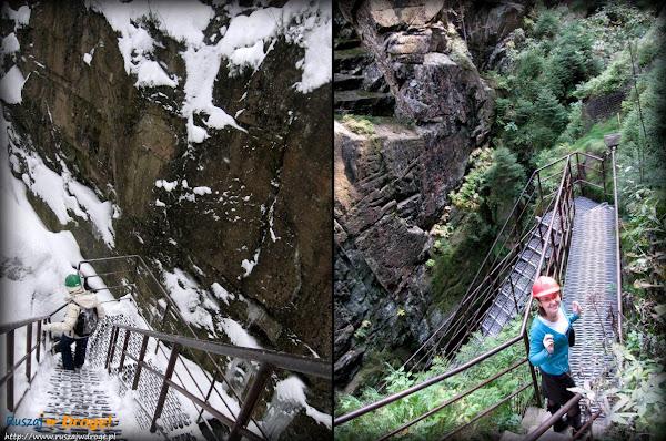 zejście do wodospadu kamieńczyka zimą i latem