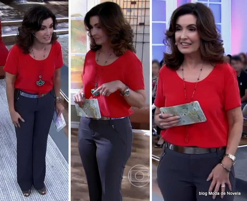 moda do programa Encontro - look da Fatima Bernrdes dia 9 de maio