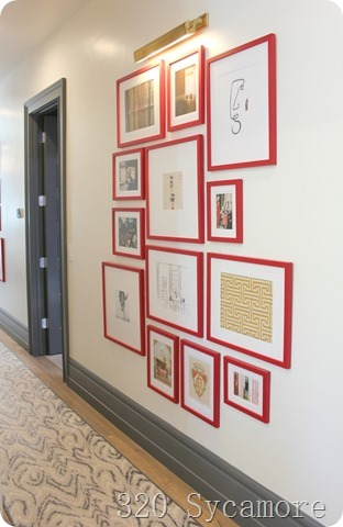 red frame gallery wall