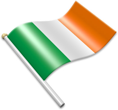 The Irish flag on a flagpole clipart image