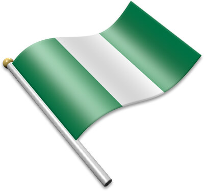 The Nigerian flag on a flagpole clipart image