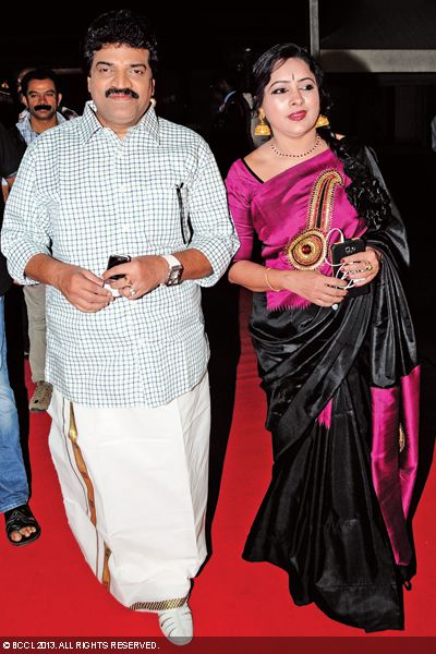 M G Sreekumar and Lekha arrives to attend the wedding reception of Singer Ranjini Jose and Ram Nair, held in Kochi.