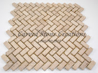 12x12 Summer Wheat Tumbled Limestone Herringbone Mosaic