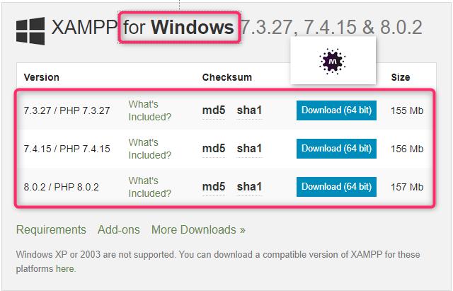 تحميل السيرفر المحلي XAMP من الموقع الرسمي