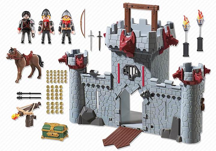 Contenido real de Playmobil® 6697 Castillo Maletín del Barón Negro