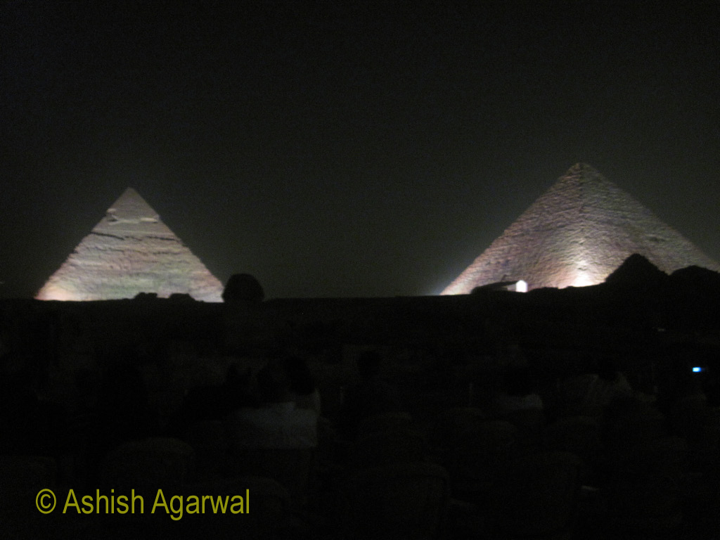 Two of the Great Pyramids, lighted at the same time, as a part of the Sound and Light show