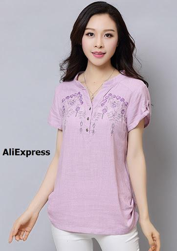 Blusa en lino con bordados
