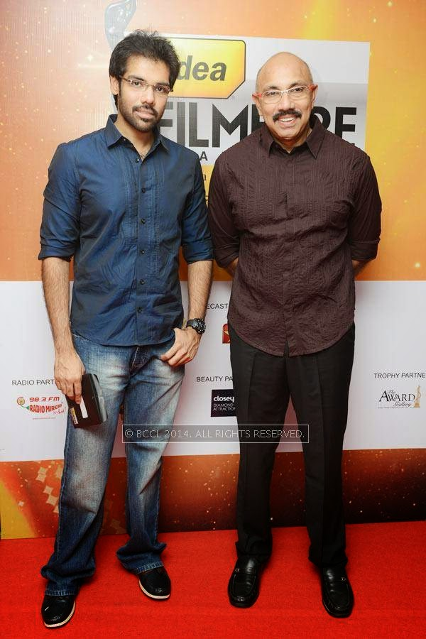 Sibiraj and Satyaraj pose together as they arrive for the 61st Idea Filmfare Awards South, held at Jawaharlal Nehru Stadium in Chennai, on July 12, 2014.
