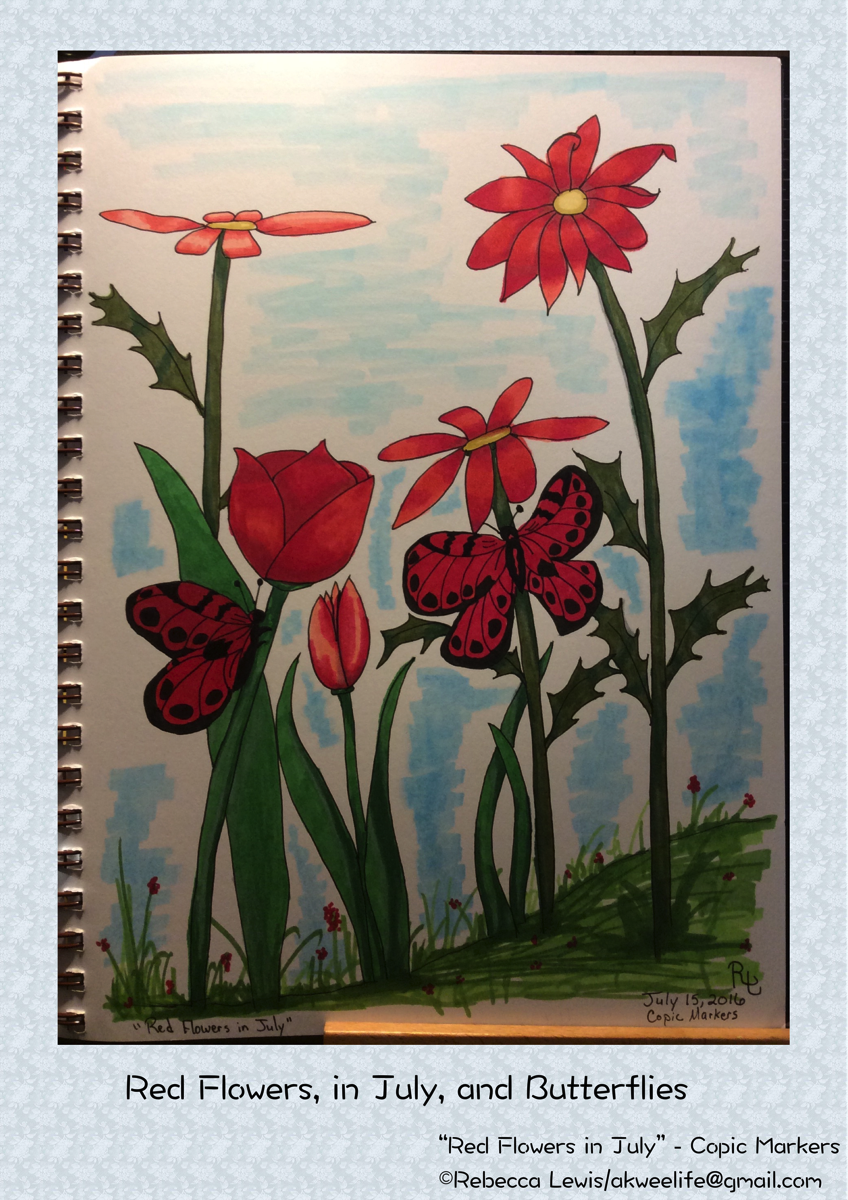 Red Flowers in July and Butterflies 2016 Jul 15