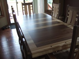 60″ x 42″ Turin Dining Table and Seneca Chairs in Natural Walnut and Hickory
