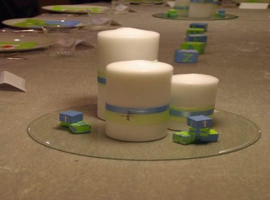 Candelabros y velas de cristal para bautizos religiosos