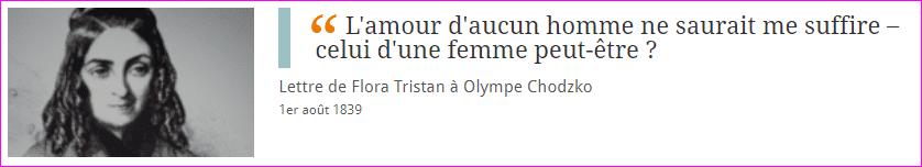 Lettre de Flora Tristan à Olympe Chodzko