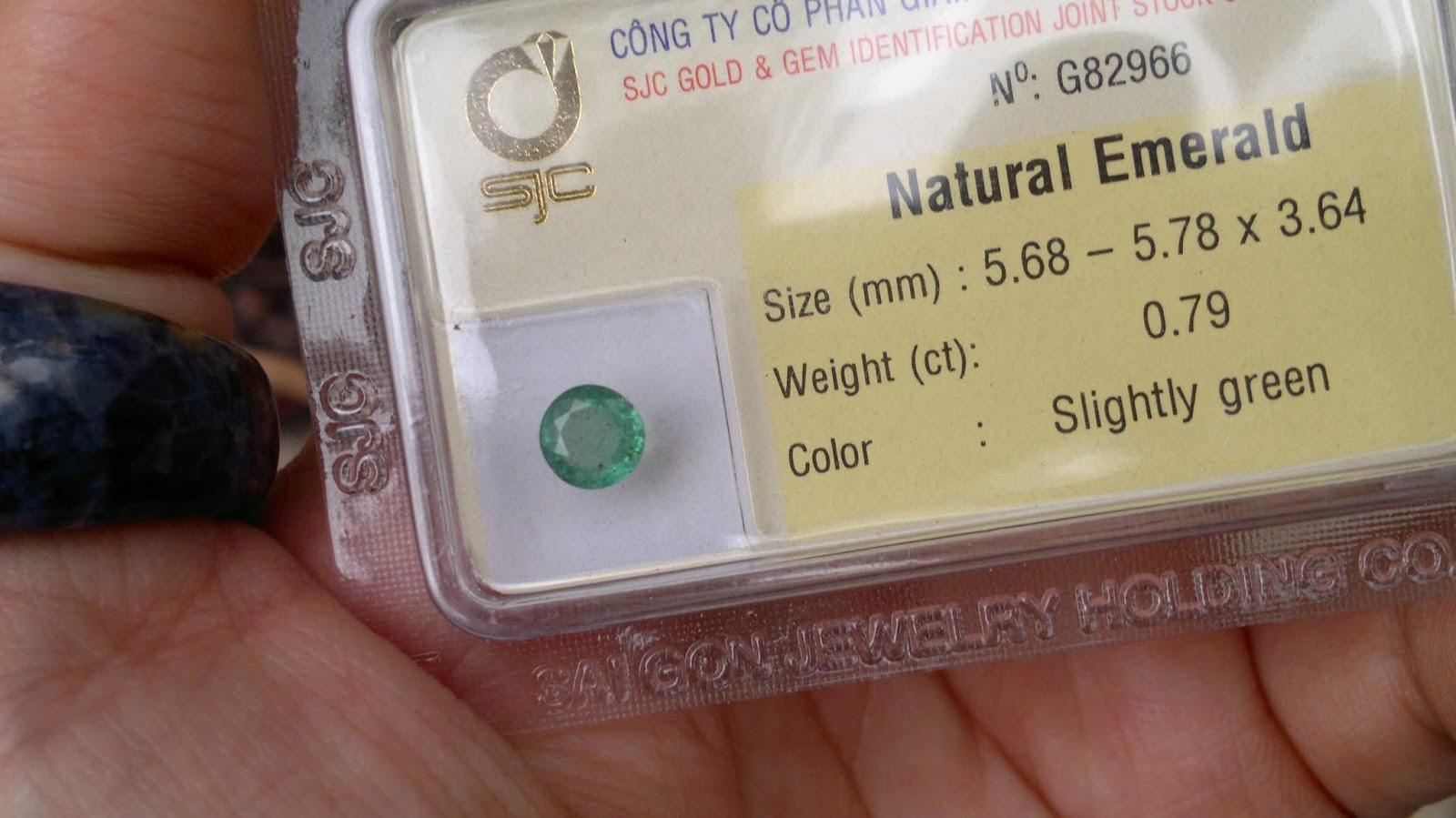 Đá quý Ngọc Lục Bảo, Natural Emerald hình tròn 5.6li 0.79ct đã kiểm định SJC