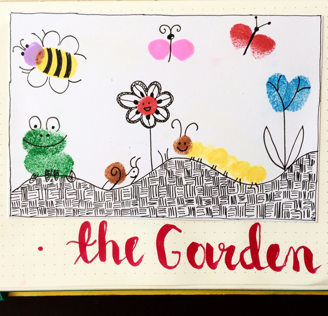 #100DaysOfDoodles | Day 13 | Ed Emberley's Thumbprint Art (The Garden) | The 100 Day Project