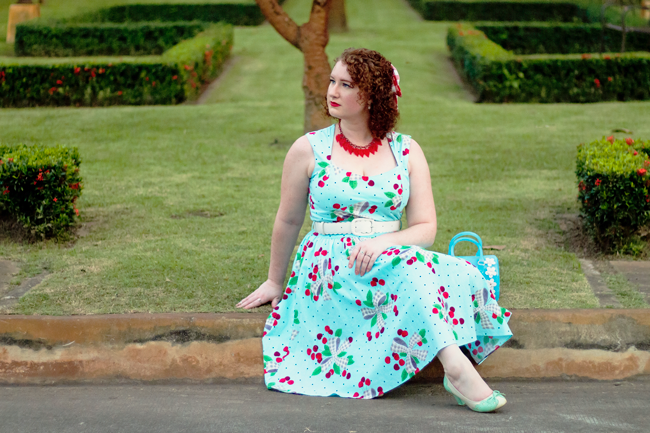 Bernie Dexter Sugardoll dress in Aqua Cherries | Lavender & Twill
