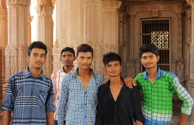 Local Rajasthani boys on a holiday to Mandore garden, near Jodhpur