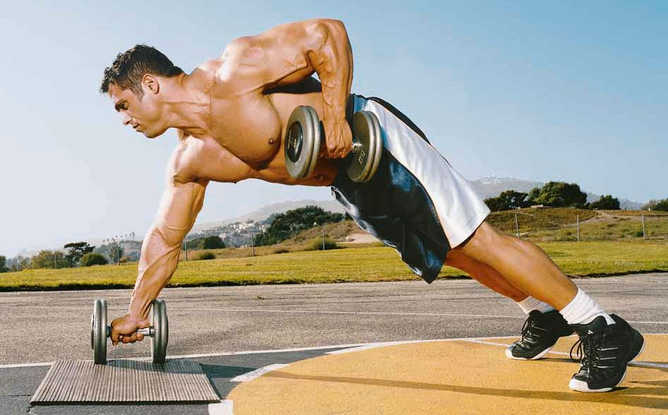 BODYBUILDING ROUTINES : FULL BODY : DUMBBELL PUSH-UP + ROW