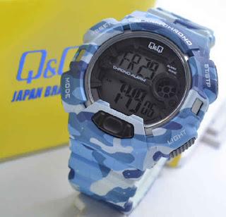 jam tangan Q&Q M132J007Y blue doreng rubber