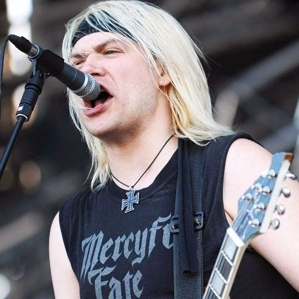 Joel Grind, member of the US band Toxic Holocaust, performs on the stage of the Hellfest Heavy Music Festival on June 20, 2014 in Clisson, western France.
