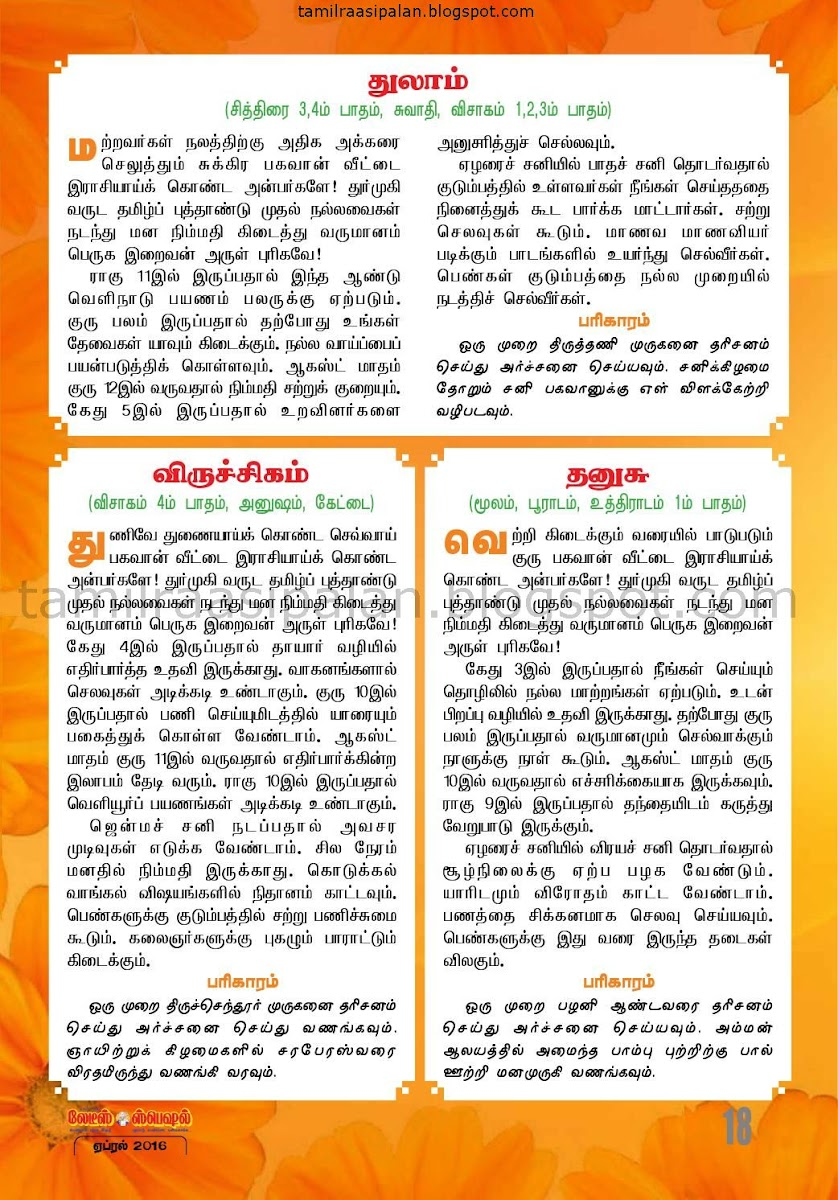 Ladies Special Durmukhi Tamil New Year Forecast 2016