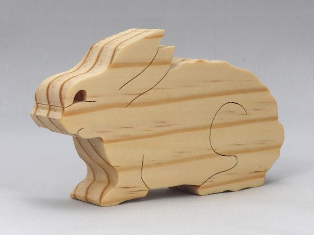Handmade Small Wood Toy Bunny Rabbit - Mini Animal
