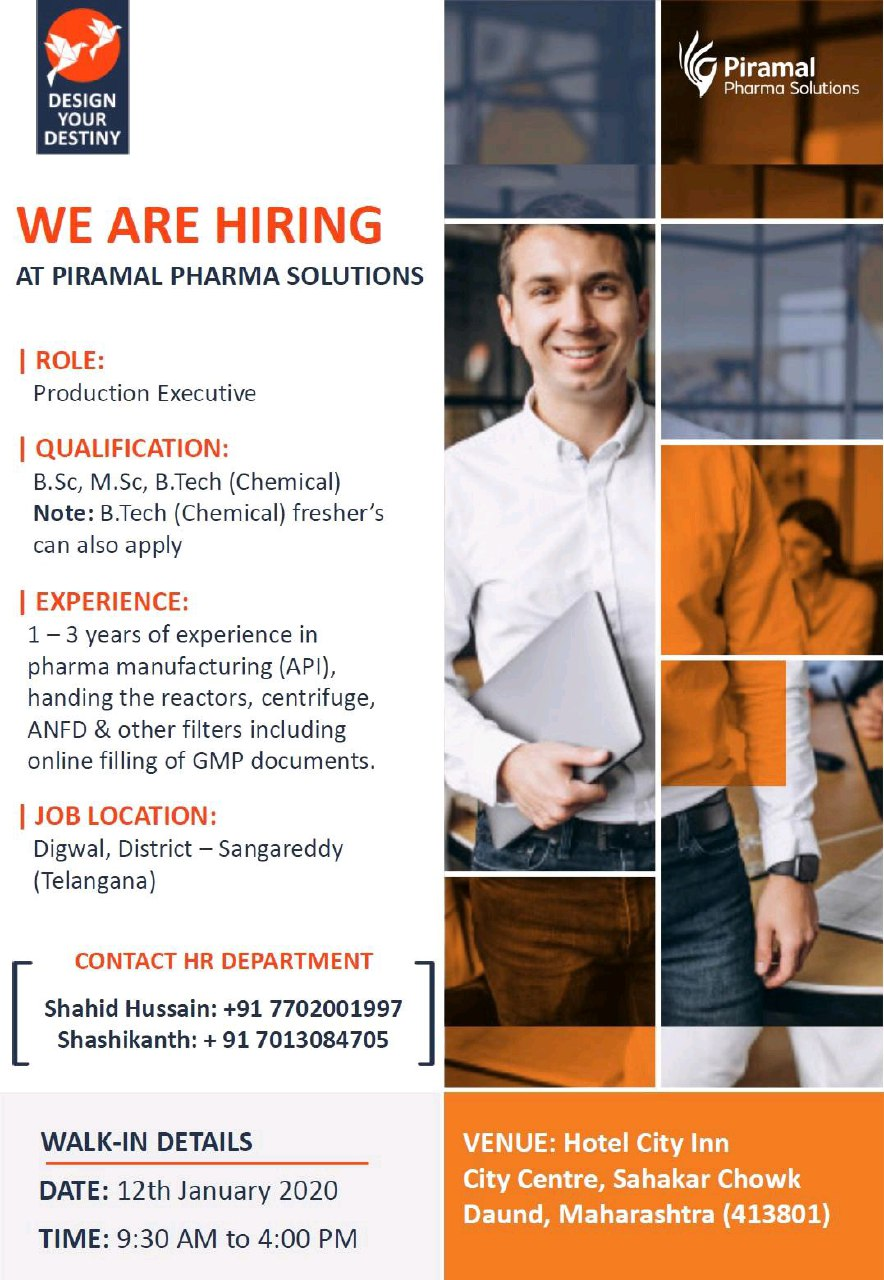 Piramal Pharma Solutions - Walk in interview for Productions on 12th Jan 2020