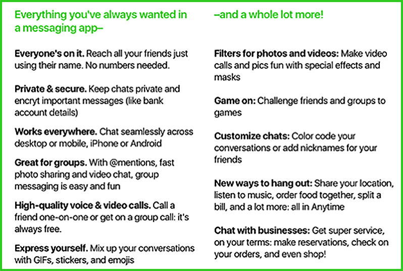 Amazon anytime chat app feature list