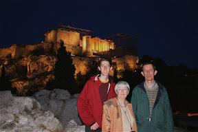 Stebila family at the Acropolis at dusk