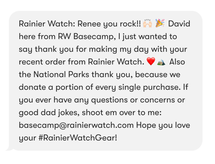 Rainer Watch: thank you SMS.
