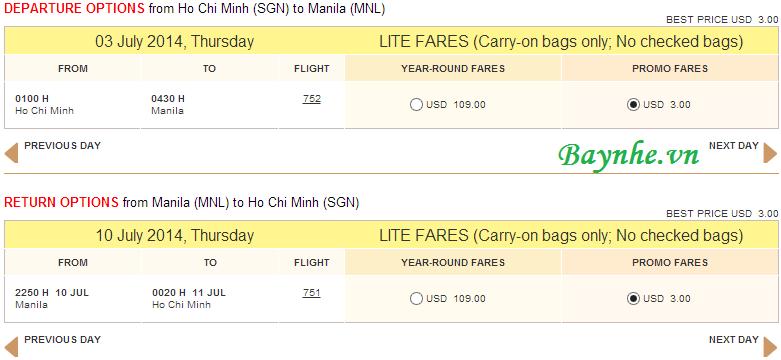 Cebu bán vé máy bay giá rẻ 3 USD