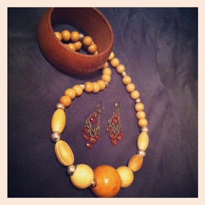 ideas for brown accessories - wooden bangle bracelet and wooden beads necklace wth brown chandelier earrings