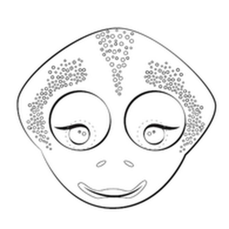 Máscara de camaleón, color y colorear