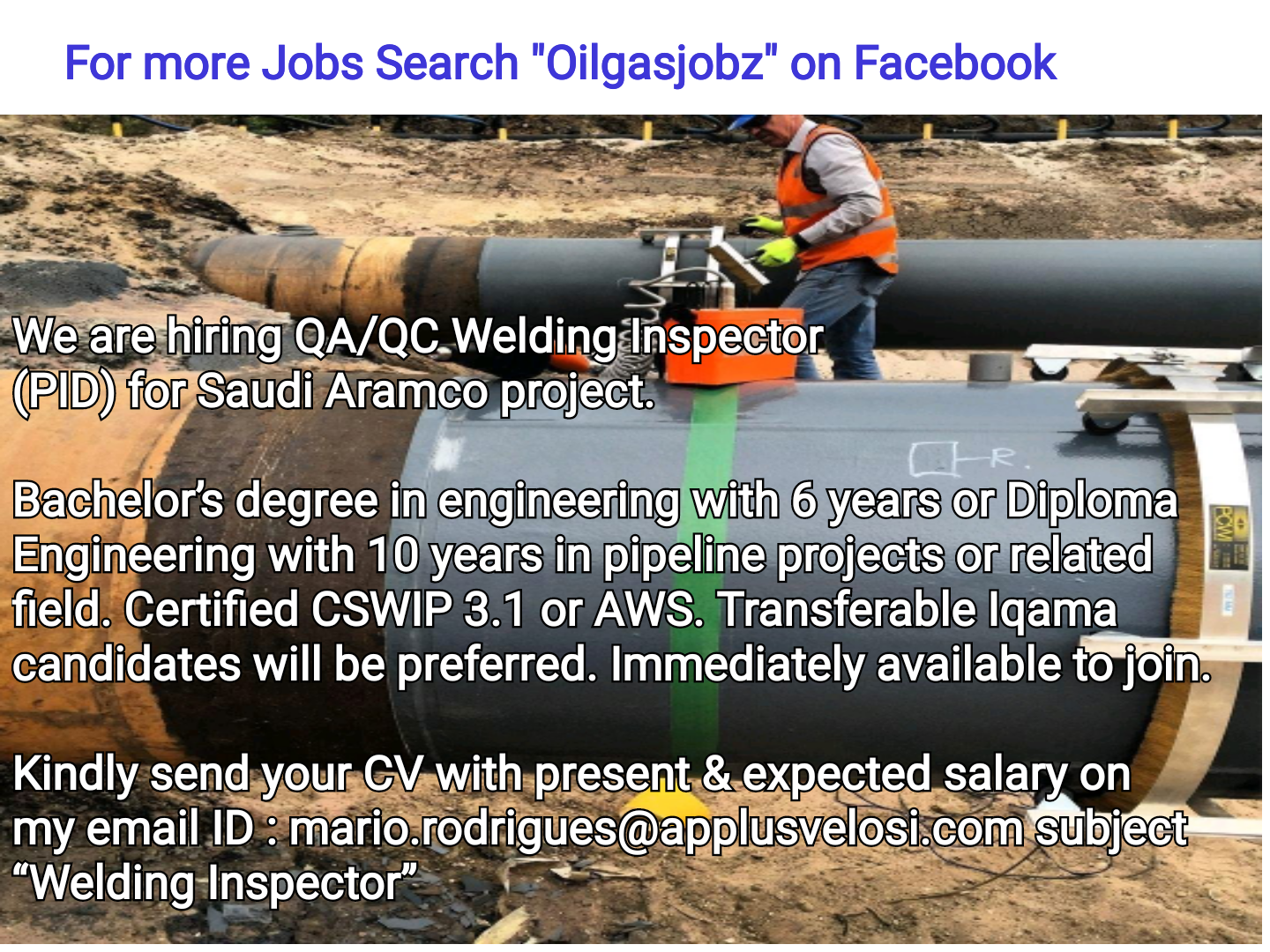 Oil and Gas Jobs: QA/QC Welding Inspector