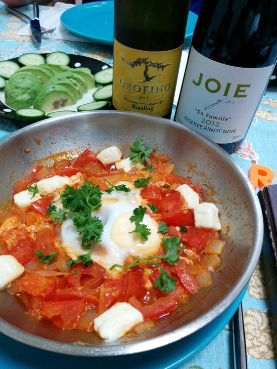 Orofino 2013 Scout Vineyard Riesling & JoieFarm 2012 Reserve Pinot Noir with Shakshuka