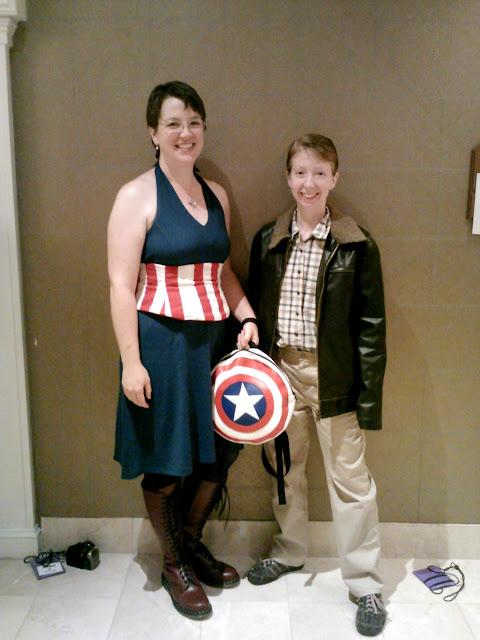 Sarah as Stephanie Rogers and me as Steve