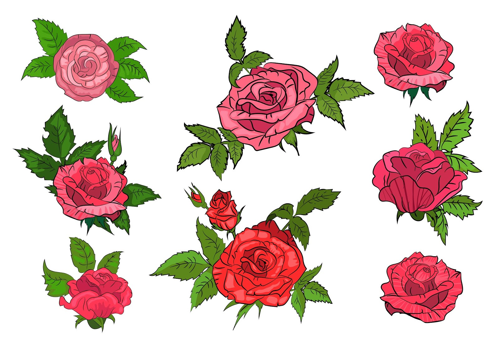 Set Red Roses Isolated Background Free Download Vector CDR, AI, EPS and PNG Formats