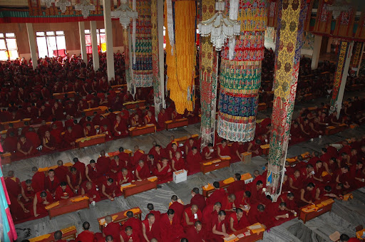 Monks of Sera Je Monastery doing puja and prayers